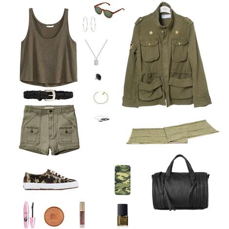 Propuesta outfit para Cosmopolitan España edición digital tendencia Army